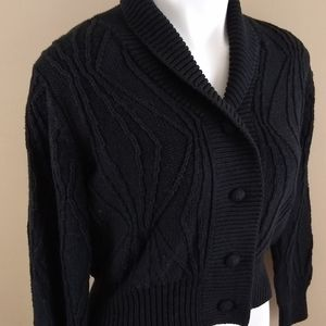 Cyrus Fitted Black Cable Knit Cardigan Sz Medium